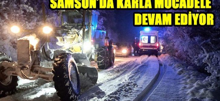 Samsun'da Karla Mücadele Devam Ediyor