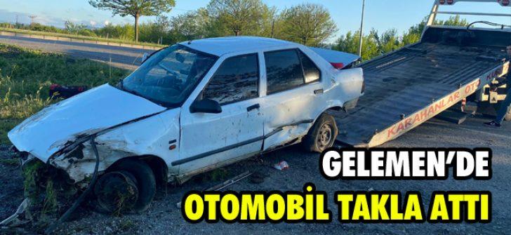 Gelemen'de Otomobil Takla Attı