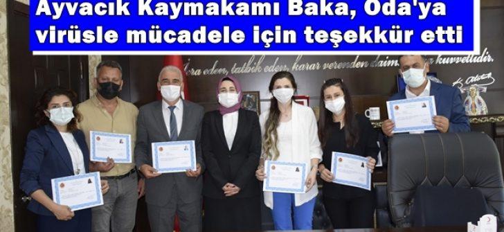 Ayvacık Kaymakamı Baka, Ziraat Oda'sına virüsle mücadele için teşekkür etti