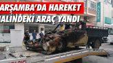 Çarşamba'da Hareket Halindeki Araç Yandı